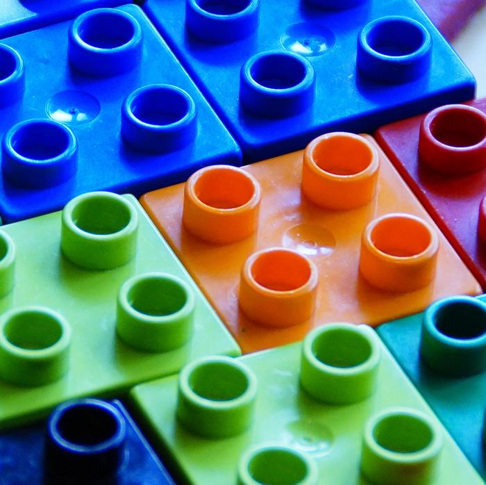 Colourful legobricks.